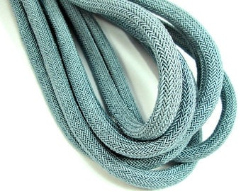 Gray blue silk cord, grey blue woven cord, 8mm braided cord, bookbinding cord (1m)