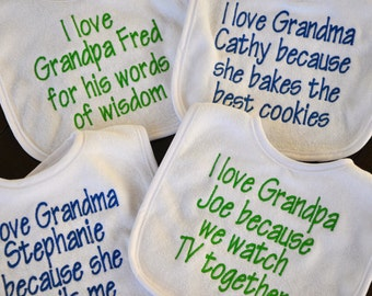 Set of 4 EMBROIDERED BABY BIBs - you pick the phrase, Personalized bib, put any phrase or saying you like. Can all be the same or different.