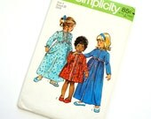 Vintage 1970s Girls Size 3 Prairie Style Robe in Two Lengths and Nightgown Simplicity Sewing Pattern 5994 / chest 22 / Cut Complete