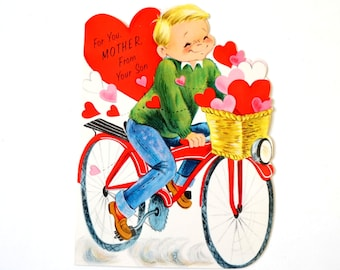 Vintage 1960s Valentines Card for Mommy from Son UNUSED / Retro Folded Hallmark Card / Boy on Bicycle Basketful of Hearts