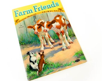 Vintage 1950s Childrens Book / Farm Friends by Diana Thorne VGC Hc / 50s Whitman A Giant Tell-A-Tale Book