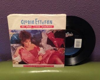 HOLIDAY SALE Vinyl Record Gloria Etsefan & Miami Sound Machine - Rhythm Is Gonna Get You b/w Give It Up 45 Single 1987