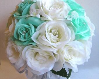 "Wedding Bridal bouquets Silk flowers MINT Green IVORY SILVER 17 piece Package Decoration bouquet Bride flower Centerpieces  ""RosesandDreams"""