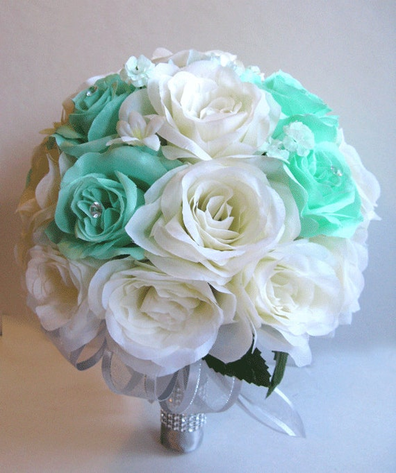 Wedding Bouquet Quotes: Wedding Bridal Bouquets Silk Flowers MINT Green IVORY SILVER
