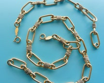 Gorgeous solid links gold and silver  chain necklace and bracelet set CASCIO signed - 1970s high-end quality Italian Couture - Art.269/4 -