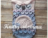 OWL PATTERN - Sleeping Sac - Owl and Hat Set Pattern -Owl Photo Prop - Crochet Pattern - Newborn Photos