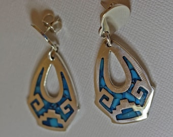 Silver Taxco Earrings Turquoise Inlay