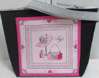 Paris Couture style Large Tote Bag Glamour Girl Pink and Black Purse Fashion Accessory Shoulder Bag Ready To Ship