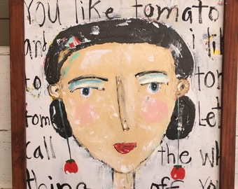 Girl art, fun face,20 x 20 canvas, tomato art, girls wall art, folk art, you say tomato,