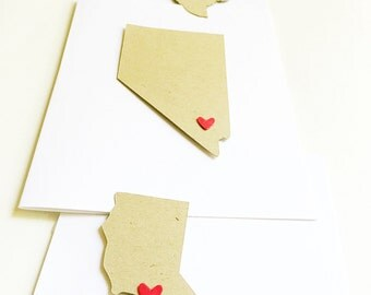 State love notecards-state stationery,state cards,states,thank you cards,sending love,personalized note card,thinking of you cards,set of 10