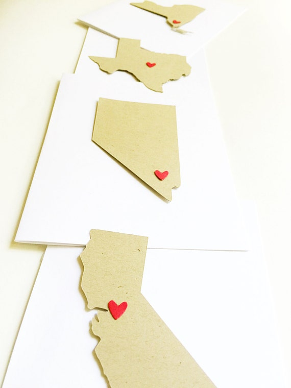 State love notecards-state stationery,state cards,states,thank you cards,sending love,personalized note card,thinking of you cards,set of 8