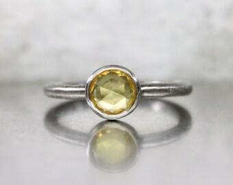 Yellow Rose-Cut Sapphire Engagement Ring Minimalistic Urban Gray Palladium Lemon Color Unique Bridal Band Romantic - Industrial Sunshine