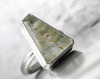 Large Elongated Trapezoid Rutilated Topaz Ring Modern Silver Pale Green Golden Rutile Unique Included Gemstone Brazil Statement - Obelisk