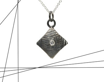 Geometric Diamond Necklace Black Silver Modern Texture Delicate Sideways Square Elegant Minimalistic Monochrome Design - Diamante Diamante