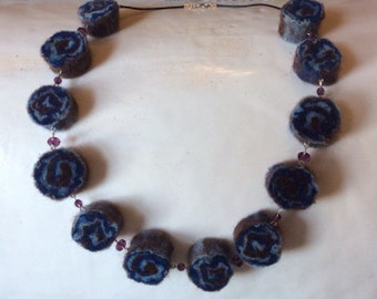 Blue Swirl Felt Necklace w/ Swarovski Crystals, sterling silver, and leather