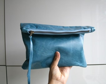 Italian leather clutch bag, leather pouch, denim leather bag lined purse, READY TO SHIP