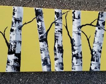 "WHITE BIRCH TREE - Original Acrylic Landscape Painting, 12"" x 24"" Modern Art, Canary Yellow Birches."
