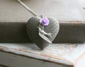 Silver locket necklace, Heart Locket Necklace , Bird Necklace  Locket , Antiqued Silver  Locket , Purple , Flower Locket  -  Morning Song