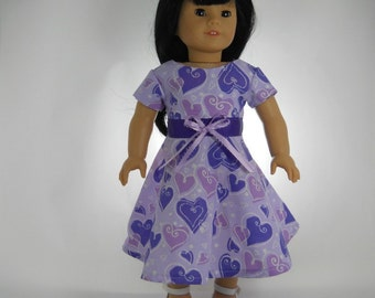 18 inch doll clothes made to fit dolls such as American Girl®, Purple Heart Valentine Dress, 01-0770