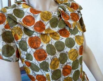 Vintage 1950's 1960's Dress Abstract roses