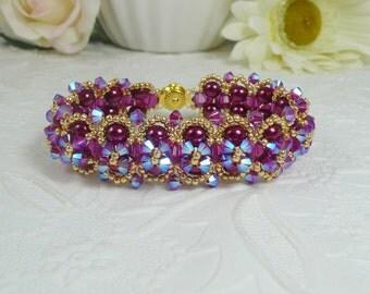 Woven Bracelet Embellished Pearl and Swarovski Crystal ABx2 Fuchsia