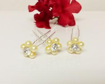 Cream Pearl Hair Pins - Set of 3 Bridesmaid Hair Pins - Rhinestone Flower Girl Hair Accessories