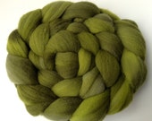 Hand Dyed Merino Roving - Green Monster - Merino Spinning Wool - Merino Felting Wool - 4 ounces Hand Dyed Top