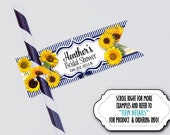 Set of 12 Flags for Straws, Sucker Tags, Cake Pop Tags, Sunflowers, Sun Flowers,Wedding, Bridal or Baby Shower, Birthday, Yellow & Navy