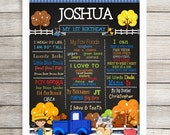 "PRINTED, Personalized Birthday Poster, 11"" x 14"", 16"" x 20"", 18"" x 24"", Pickup Truck, Farm Animals, Chalkboard Look Poster, Any Age"