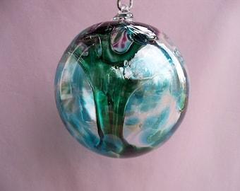 Hand Blown Glass Witch Ball/Ornament/Suncatcher, Art Glass,Purple Top, Aqua and Green.