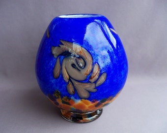 Hand Blown Art Glass  Vase on Foot, Cobalt Blue,Chalcedony Pattern, Multicolored Bottom
