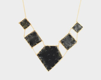 Hex Collar Leather Necklace in Noir | R15-N18 NOIR
