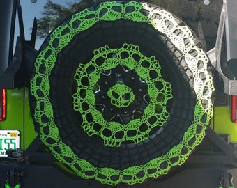 Spider Webs and Skulls Tire Cozy Spare Tire Cover Crocheted FREE SHIPPING Perfect for Kia Sportage Jeep Honda CRV Toyota Rav4 etc