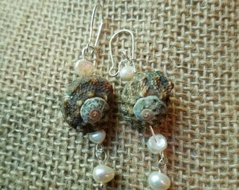 Shell and Pearl Mermaid Earrings