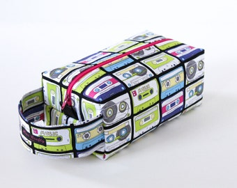 Zippered Knitting Crochet Project Box Bag - Mixed Tape - Hot Pink Zip
