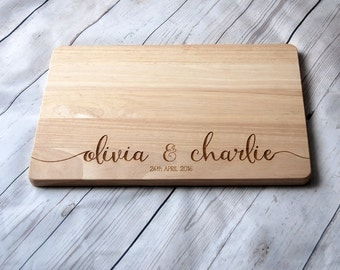 Custom Name chopping board for couples - Personalised Cutting board -  Weddings - Engagment - Anniversary