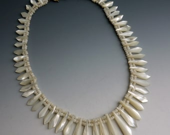 Antique Carved Mother of Pearl Pickets Berries Necklace
