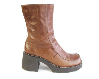 Vintage 90s Chunky Heel Boots Grunge Brown Leather Ankle Boots Square Toe Boots Zip Up Chunky Rubber Sole Mid Calf Winter Boots Size 9