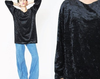 20% OFF SALE 1990s Black Velvet Top Crushed Velvet Shirt Long Sleeve Top Black Velvet Blouse Vintage Slouchy Velvet Tunic Grunge Goth Basic