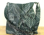 Black Leaf Shoulder Bag-Zipper Closure-Pleated Bag-Adjustable to Straps