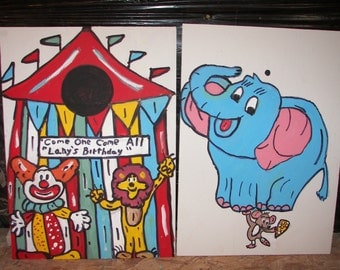 New 2  games      tent   and  elephant   circus  games with   4 rings  and  4  bean bags