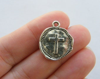 6 Cross charms antique silver tone C100