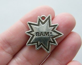 BULK 20 Bam charms antique silver tone M172