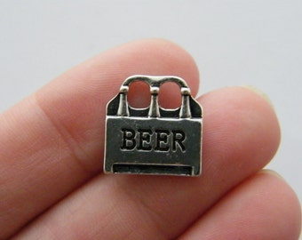6 Beer bottle charms antique silver tone FD170