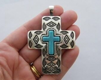 1 Cross pendant blue antique silver tone C75