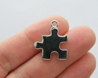4 Puzzle piece charms silvet tone P412