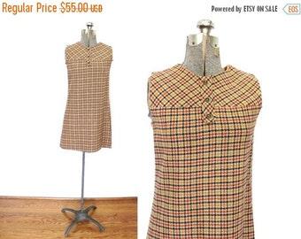 ON SALE 1960s Mini Dress / 60s Fall Fashion Houndstooth Plaid Wool Jumper Shift Dress
