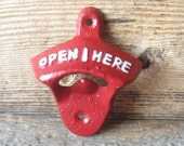 Sale Cast Iron  Bottle Opener/Beer Soda Pop/ Retro Opener Painted in Red /Wall Mounted