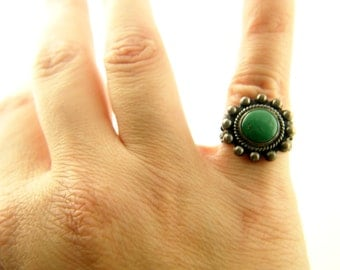 Turquoise Ring - Sterling Silver - Native American - Vintage Jewelry