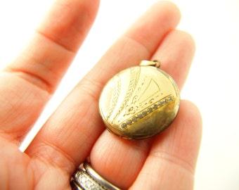 Rhinestone Locket - Gold Filled - Wedding Jewelry - Antique